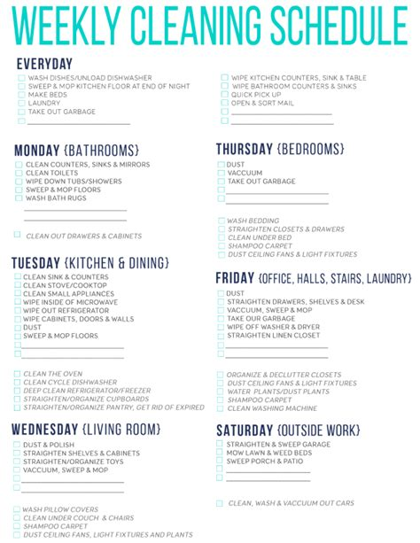 printable weekly house cleaning checklist 7 of the best free printable cleaning schedules cleaning