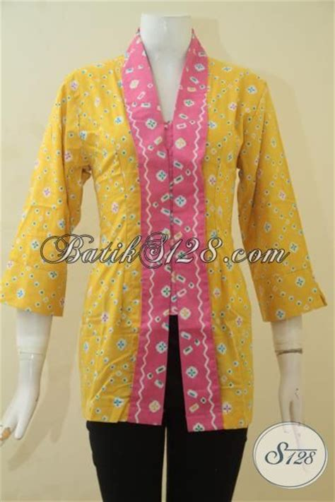 Baju Kerja Baju Jawa Basofi Rapih Banget baju batik blus modis warna kuning aksen pink busana kerja batik desain formal klasik membuat