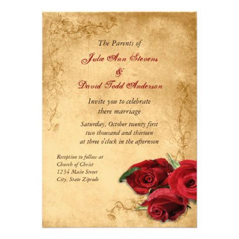 vintage wedding invitations with roses vintage wedding invitations