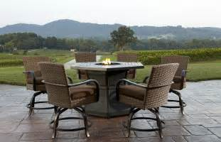 patio furniture with pit table agio corseca 7pc bar set with firepit table vootz