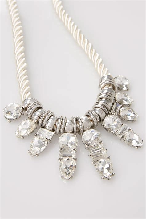 silver diamante pendant rope necklace