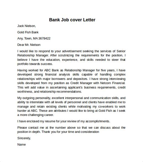 Cover Letter For Bank Position by Cover Letter Exle For 10 Free Documents In Word Sle Templates