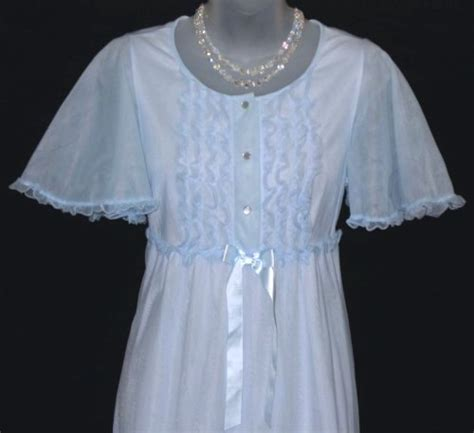 Hem Flow Btterfly blue chiffon nightgown at option ruffled