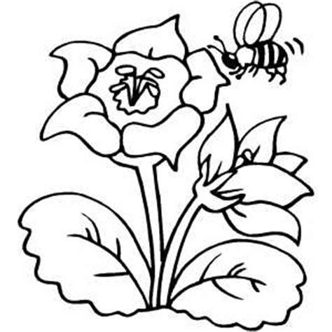 coloring pages of flowers and plants flower with bee coloring page