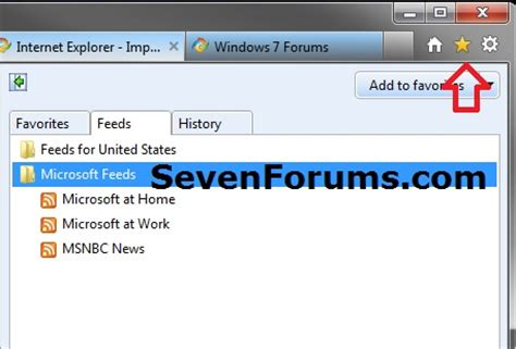 internet explorer import and export rss feeds windows