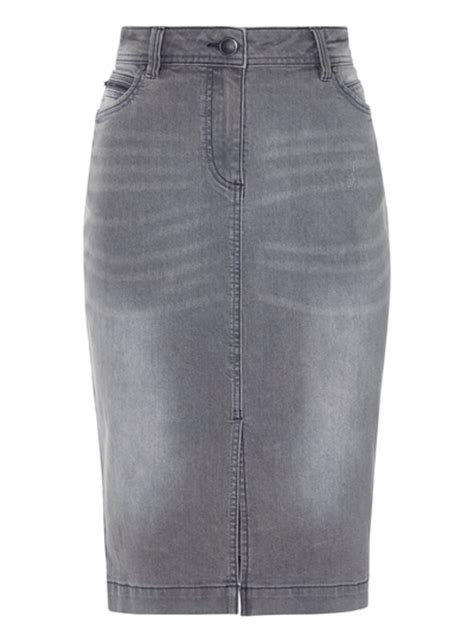 womens grey denim pencil skirt tu clothing
