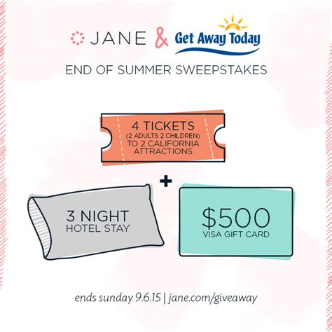 One Entry Sweepstakes Ending Soon - jane com sweepstakes enter to win 500 visa gift card 3 night vacation southern