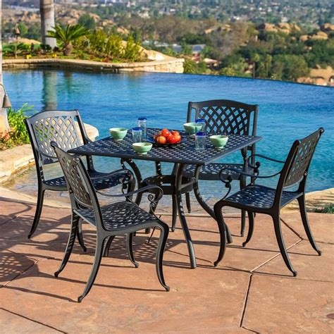 Metal Patio Dining Sets Shop Best Selling Home Decor Hallandale 5 Black Sand Aluminum Patio Dining Set At Lowes