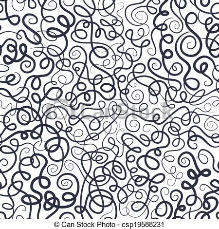 curl pattern en francais decorative curly waves lines pattern vector seamless