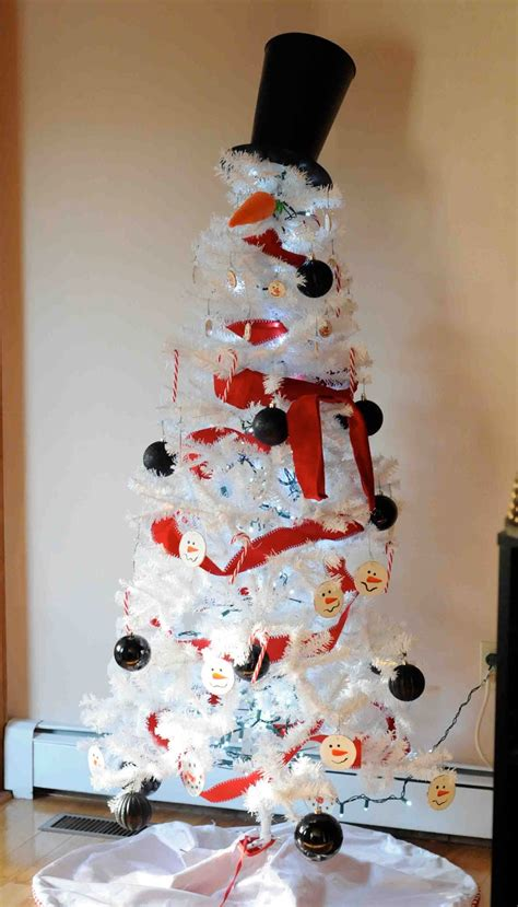 White Tree Decorated As A Snowman by Gonna Stuff A Chicken Snowman Tree