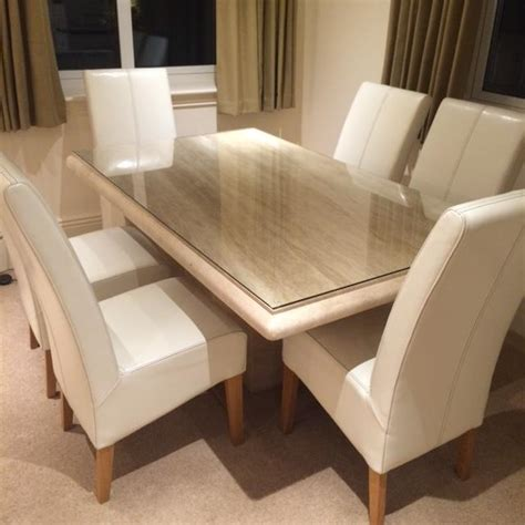 'Actona' Travertine Dining Table and 6 Cream Leather