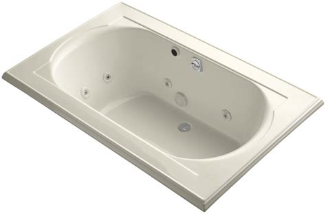 kohler bathtubs with jets kohler k 1170 he 47 almond memoirs collection 66 quot drop in
