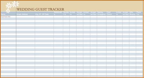 wedding guest list spreadsheet template 9 wedding guest list spreadsheet authorizationletters org