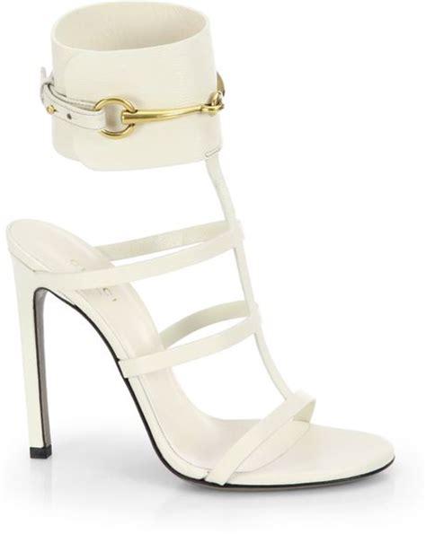 white gucci sandals gucci ursula leather cage sandals in white mystic white