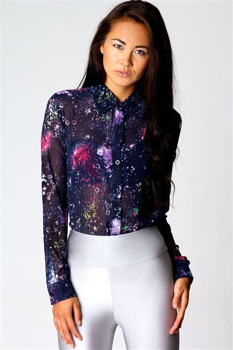 Wn Blouse Molly Navy boohoo molly galaxy print chiffon sleeve blouse in navy ebay