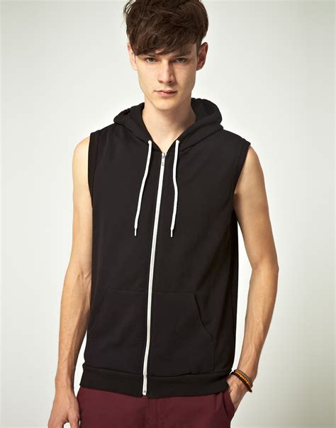 american apparel hoodie american apparel american apparel sleeveless hoodie in black for lyst