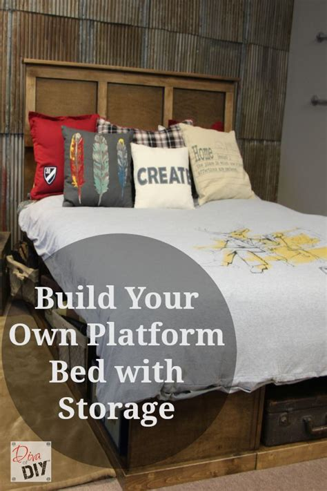 make your own platform bed platform bed with storage pinterest crafts