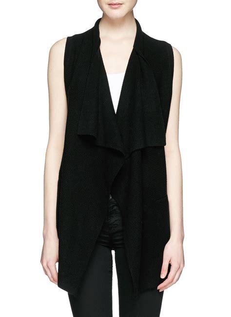 sleeveless draped cardigan vince drape wool cashmere sleeveless cardigan in black lyst