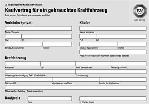 Autobild Kaufvertrag by Vorlage Kaufvertrag F 252 R Ein Gebrauchtes Kfz Kraftfahrzeug