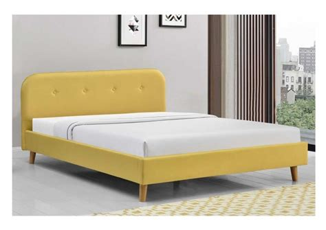 Sleep Design Woburn 4ft6 Double Yellow Fabric Bed Frame By Yellow Bed Frame