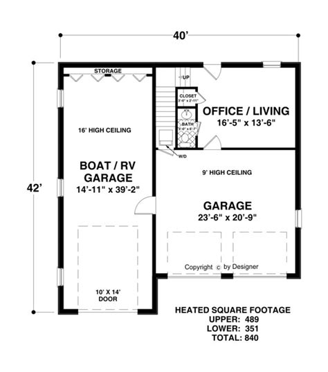 garage living space floor plans boat rv garage office 3069 1 bedroom and 1 bath the house designers