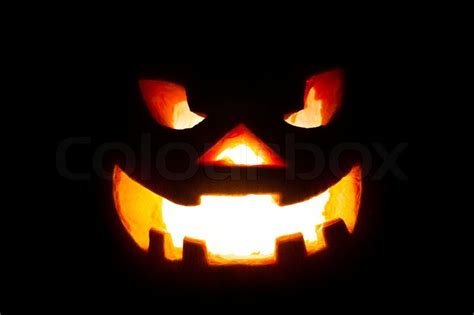 scary jack o lantern on wood stock photo colourbox