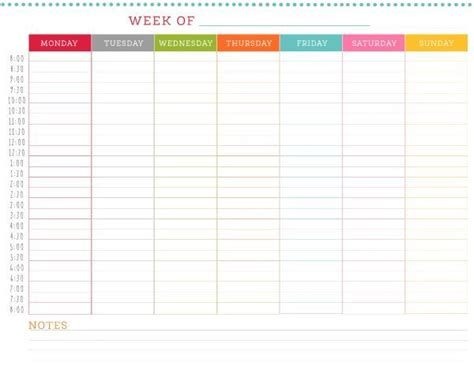 24 hour weekly calendar template hour hour weekly schedule