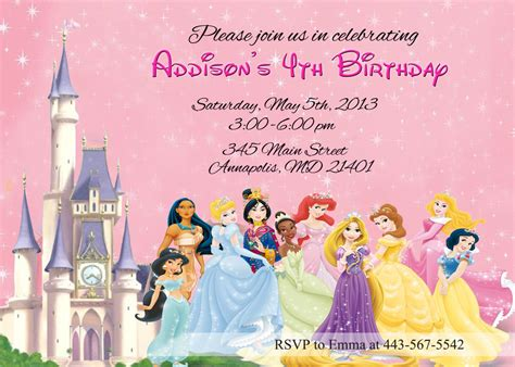 disney princess invitation card template disney princesses birthday invitations disney princess