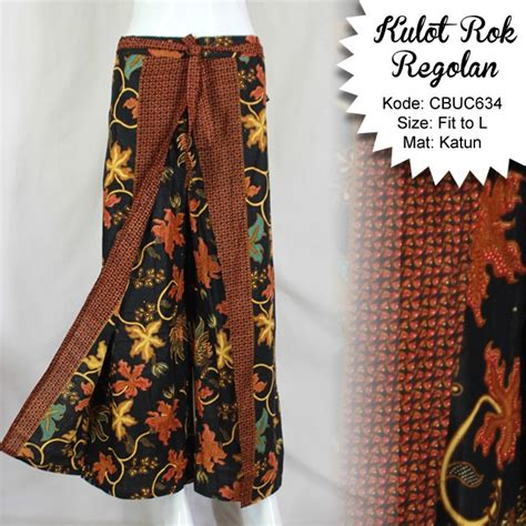 Model Rok Katun celana kulot rok batik katun motif anggur celana murah