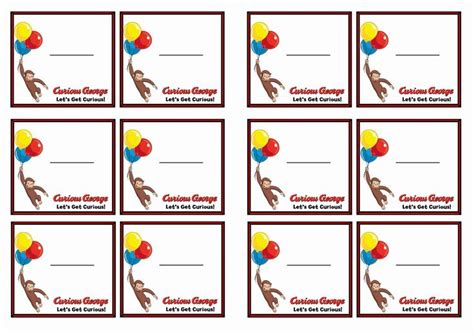 printable monkey name tags free printable curious george themed name tags themed