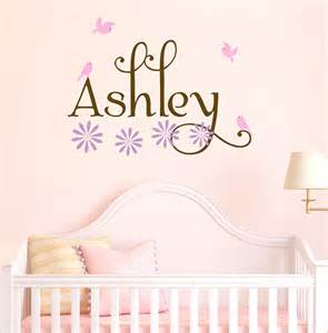 baby name wall stickers girl name wall decals nursery birds decal set flowers baby
