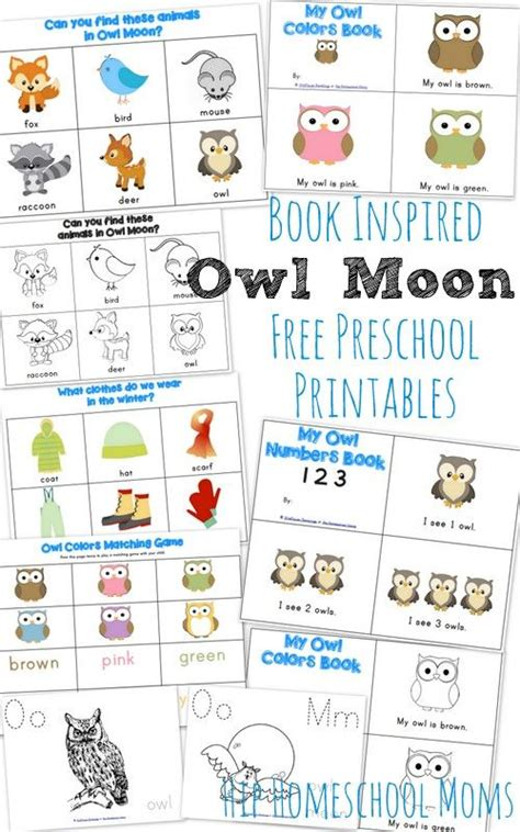 Printable Owl Moon | owl moon book inspired preschool printables