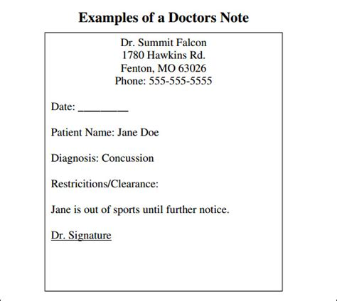 9 doctor note templates word excel pdf formats