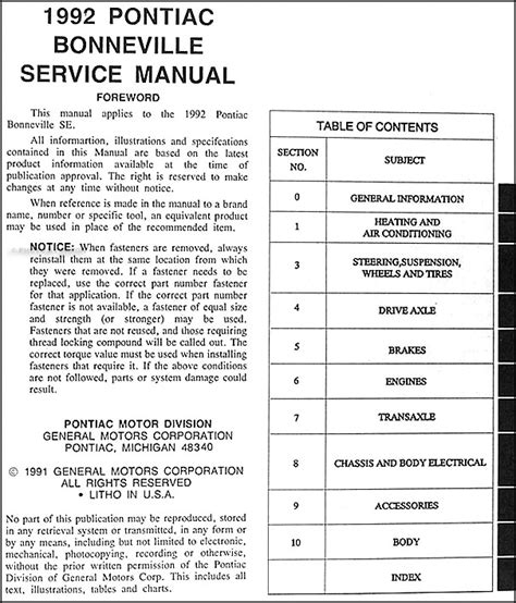 car repair manuals online pdf 1999 pontiac grand prix parking system 1992 pontiac bonneville se repair shop manual original