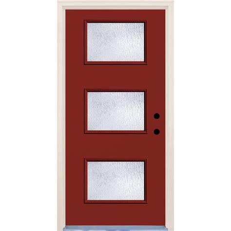 door with door builder s choice 36 in x 80 in cordovan 3 lite glass painted fiberglass prehung