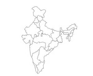 India Political Map Outline With States by Geography Outlines Maps India