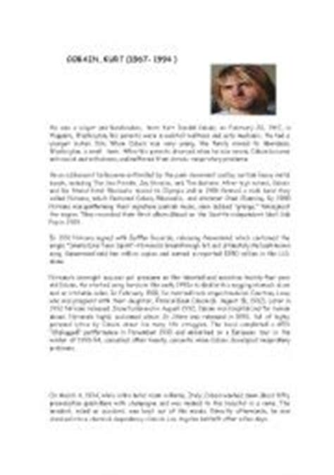 kurt cobain english biography english teaching worksheets biographies