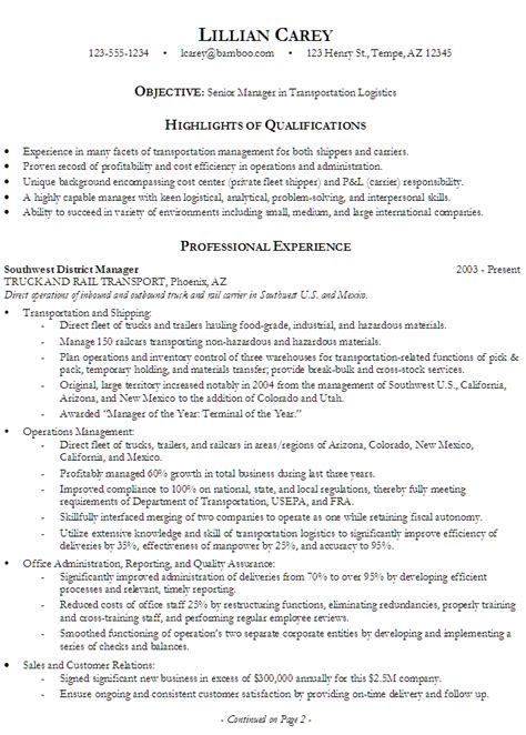 education section in resume exles resume senior manager in transportation logistics