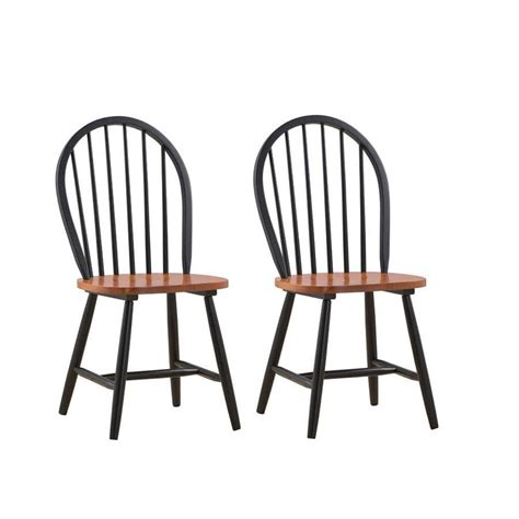 boraam farmhouse black and cherry wood dining chair set