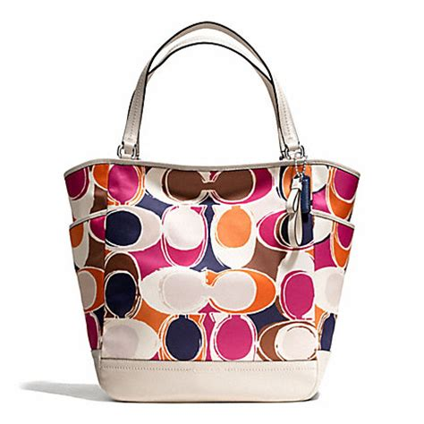 Coach Signature Stripe Scarf Print Tote by Coach F23299 Park Scarf Print South