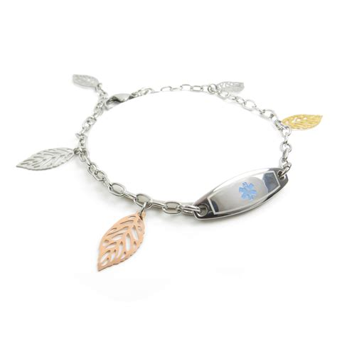 Engraved Demerol Allergy Women Medical ID Bracelet, Walnut Leaves Light Blue   eBay