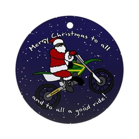 dirt bike santa christmas ornament by rabidtees