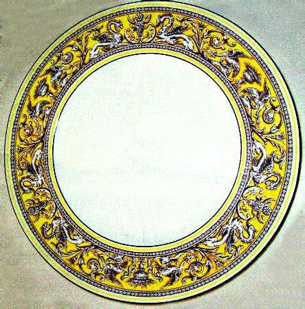 Floy Set Silver wedgwood florentine yellow band no center design at replacements ltd