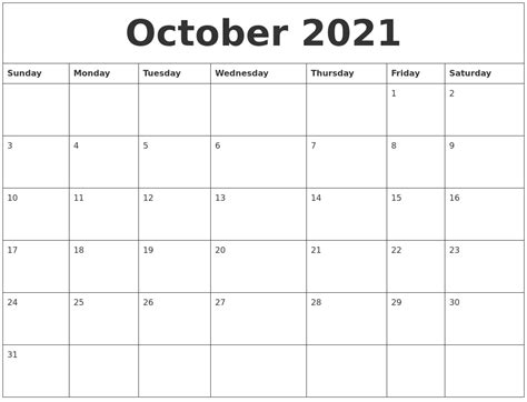 october  printable calendar template