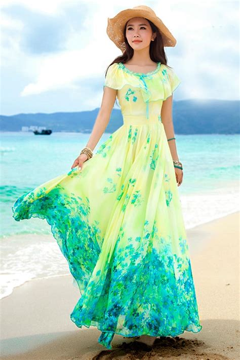 yellow floral print ruffle overlay chiffon maxi dress