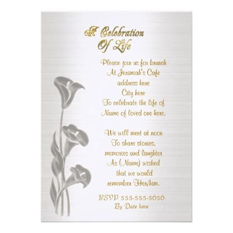 memorial invitations celebration of life party
