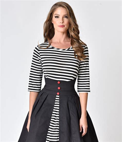 Black White Striped Flounced Half Sleeved Cotton Dress swing dresses vintage 50s dresses for sale unique vintage