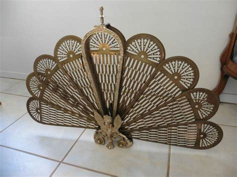 Vintage Brass Peacock Folding Fan Fireplace Screen Brass Fan Fireplace Screen
