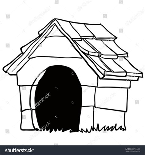 white dog house black white dog house cartoon stock vector 397366288 shutterstock
