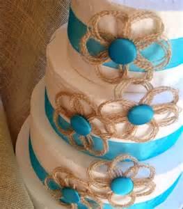 turquoise beach wedding burlap wedding cake topper and